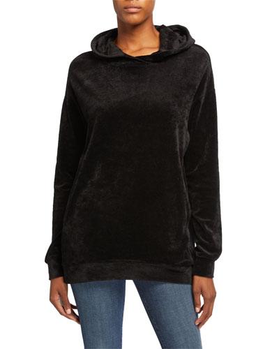 Oversized Velour Hoodie Sweatshirt