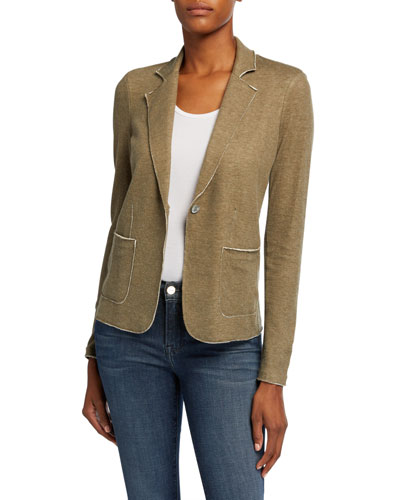 One-Button Double Face Blazer