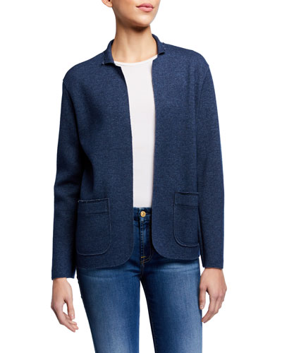 Wool Blend Long Sleeve Open Jacket