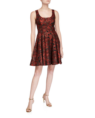Sleeveless Floral Jacquard Fit-and-Flare Dress