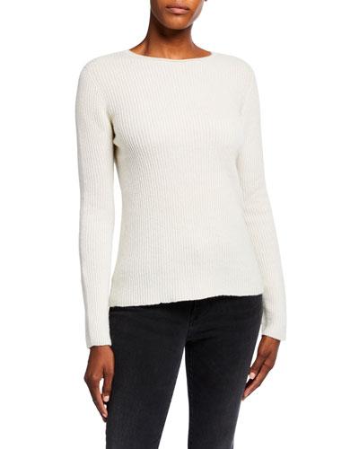 Metallic Rib-Knit Crewneck Long-Sleeve Sweater