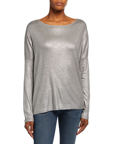 Metallic Boat-Neck Drop-Shoulder Sweater
