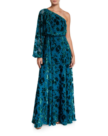ZAC Zac Posen Devore One-Shoulder Gown with Balloon-Sleeve & Full Skirt