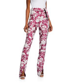 Alexis Burgos Floral Jacquard Split-Hem Pants