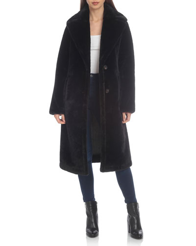 Long Bonded Faux-Fur Coat