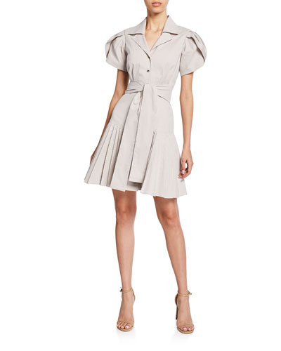 Haylee Striped Shirt Dress w/ Belt