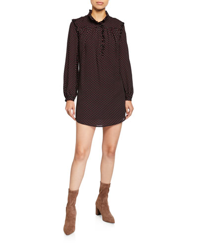 Polka Dot Long-Sleeve Mini Party Dress
