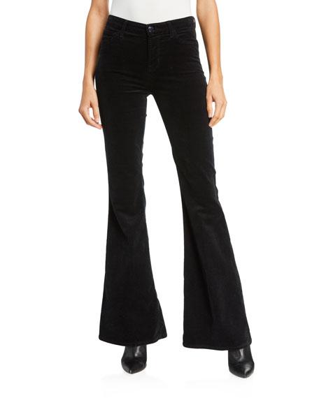 J Brand Valentina High-Rise Flare Velvet Pants