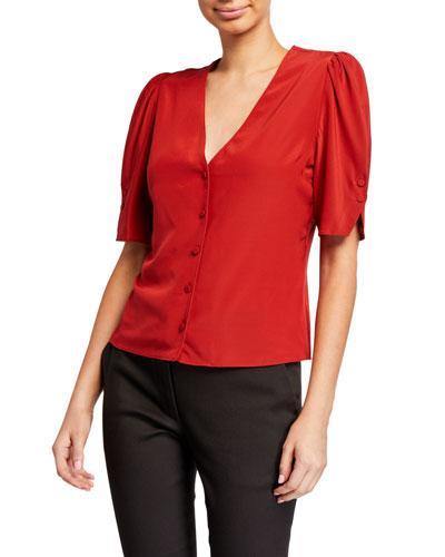 Olivia V-Neck Button-Front Silk Top