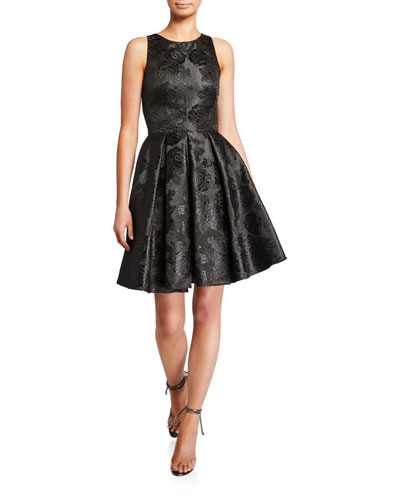 Sleeveless Bow-Back Jacquard Mini Cocktail Dress