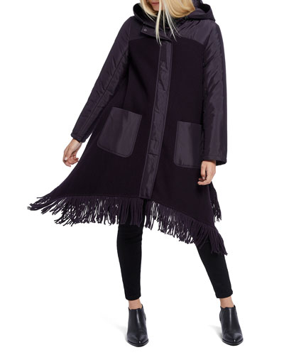 Catalyst Fringe Hem Hooded Coat