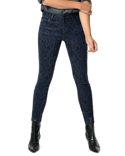 The Charlie Snake-Print Ankle Jeans