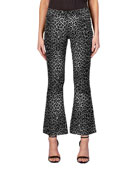 Black Orchid Chrissy Kick Flare Cheetah-Print Jeans