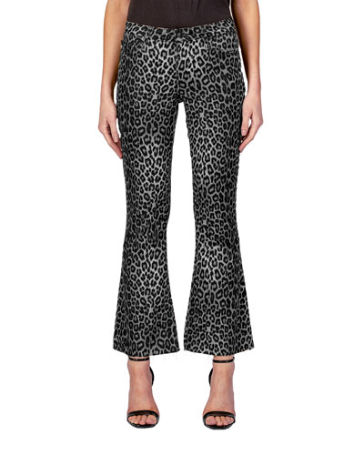 Chrissy Kick Flare Cheetah-Print Jeans