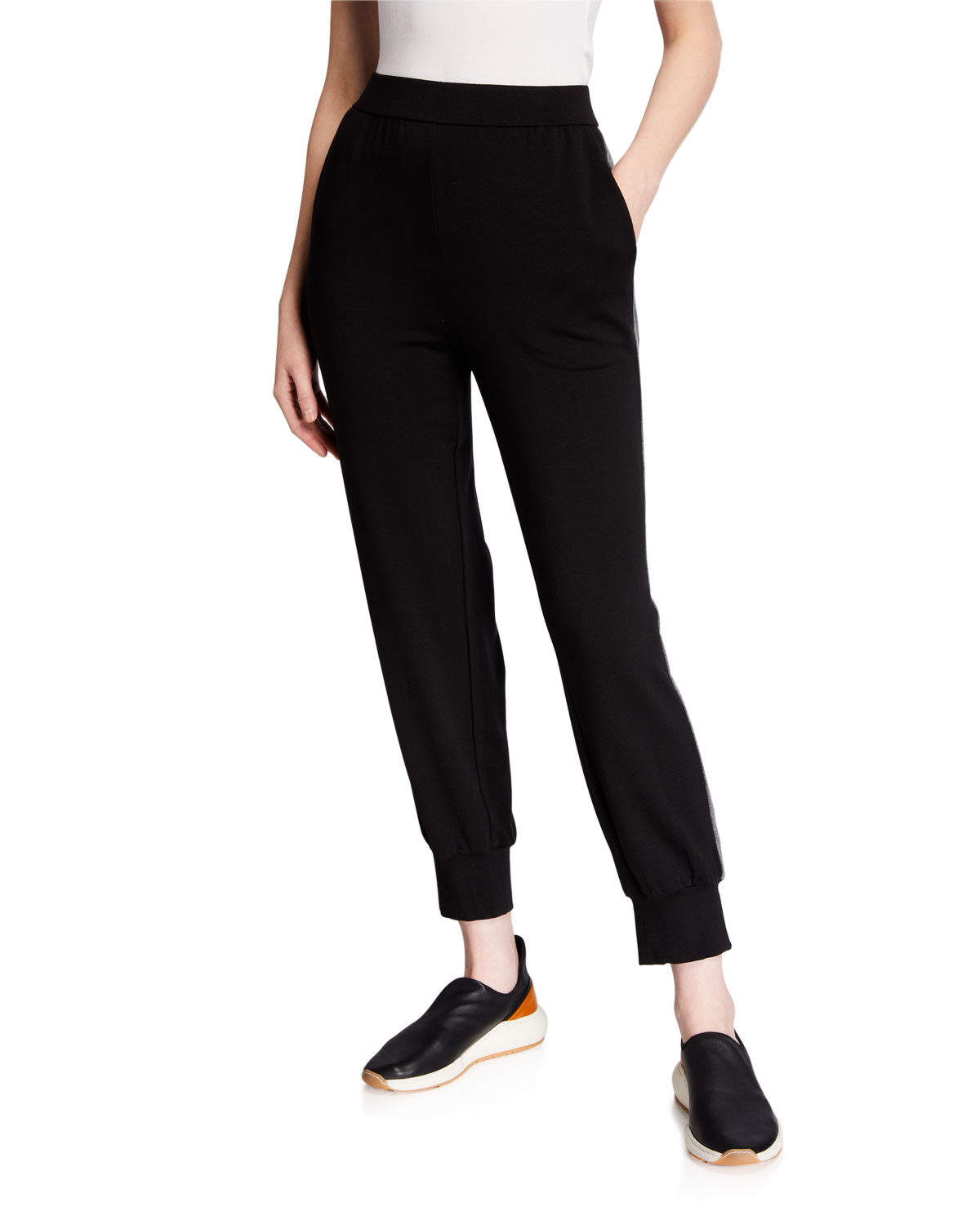 Eileen Fisher Pants PETITE STRETCH TERRY SIDE-STRIPED TRACK PANTS