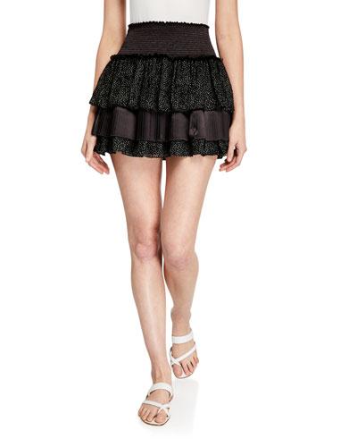 Beckie Tiered Dot-Print Mini Skirt