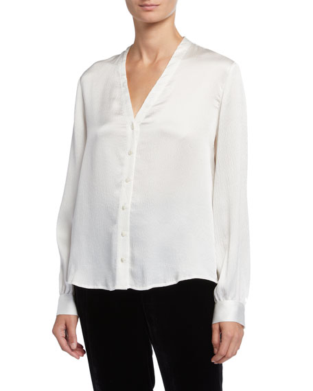 Eileen Fisher Petite Hammered Silk High-Back Band-Collar Shirt