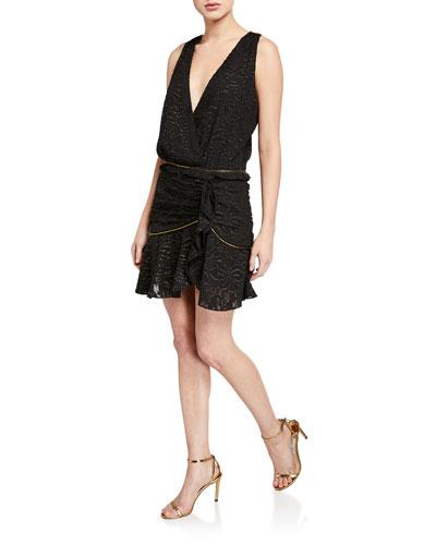 Ensley Sleeveless Metallic Flounce Dress