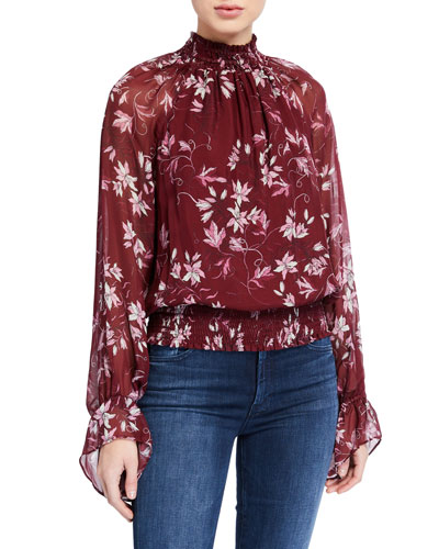 Keisha Printed Silk Top