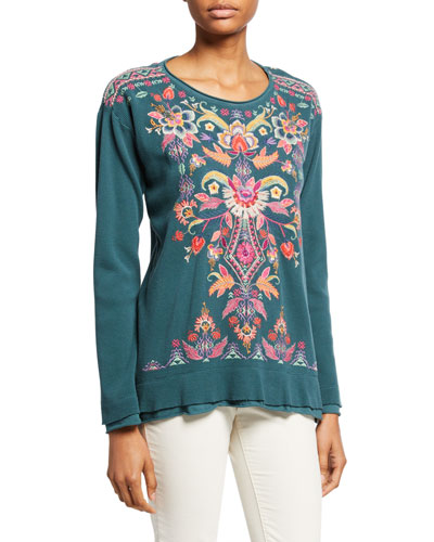 Petite Ioana Long-Sleeve Embroidered Thermal Top