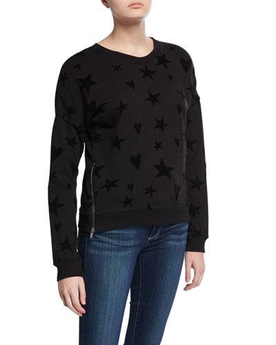 Marlo Hearts/Stars Side-Zip Sweater
