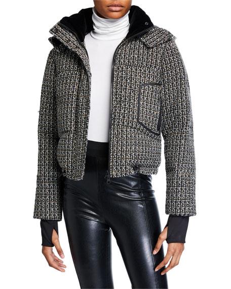 Blanc Noir Crop Boucle Puffer Jacket