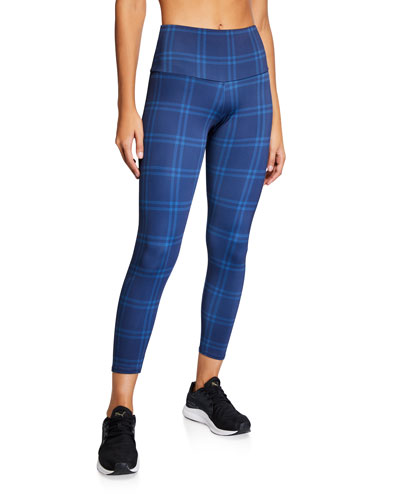 High-Rise Basic Plaid Midi Leggings