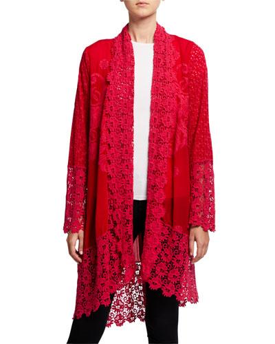 Asao Eyelet Long-Sleeve Tie-Front Kimono Jacket