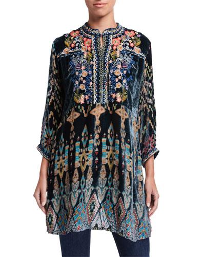 Plus Size Laurelie Burnout Velvet Tunic Dress