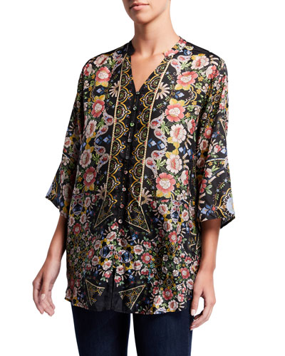 Plus Size Corin Floral-Print Silk Button-Down Top