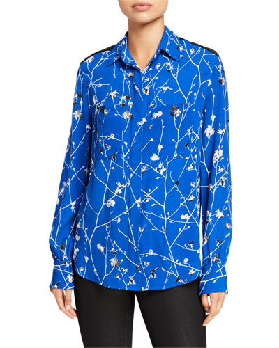 Therese Printed Viscose Button-Down Blouse