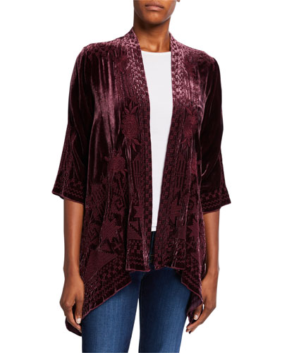Plus Size Daniella Embroidered Draped Velvet Cardigan