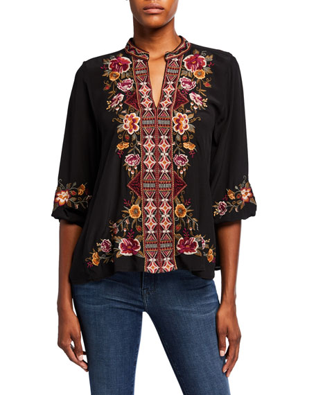 Johnny Was Plus Size Nepal Embroidered Effortless Swing Blouse