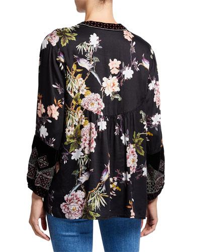 Plus Size Floral Long-Sleeve Velvet Trim Mix Paris Effortless Blouse