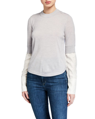 Roscoe Crewneck Wool Sweater with Combo Sleeves