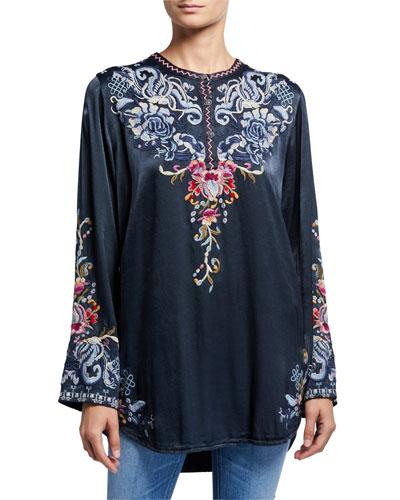 Esta Long-Sleeve Embroidered Satin Blouse