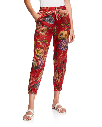 Lodi Floral Stretch Silk Cargo Pants