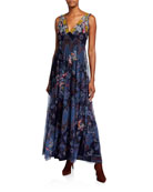 Johnny Was Glynvi Printed Mesh Sleeveless Maxi Dress