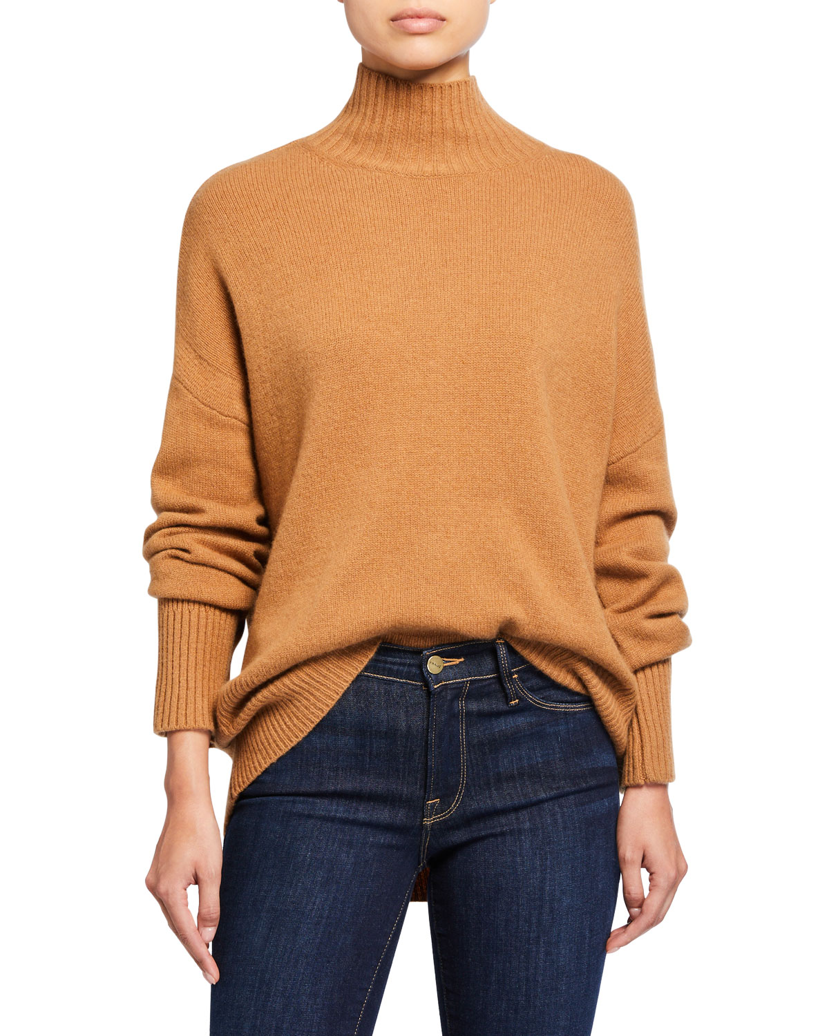 Frame Sweaters HIGH-LOW SUSTAINABLE CASHMERE TURTLENECK SWEATER