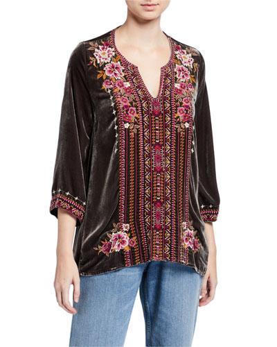 Plus Size Valmere Embroidered 3/4-Sleeve Velvet Flutter Top