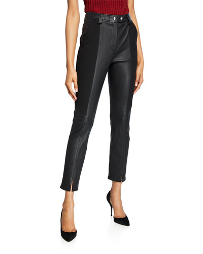 Devin Leather Combo Skinny Pants