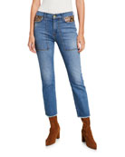FRAME Le High Straight Ankle Jeans with Python