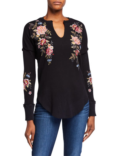 Britton V-Neck Thermal Top w/ Floral Embroidery