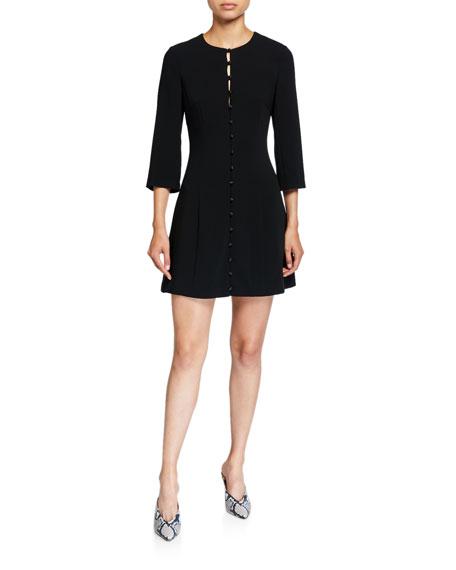 cinq a sept Shauna Button-Front 3/4-Sleeve Dress