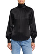 cinq a sept Jayla Silk Pleated Turtleneck Top