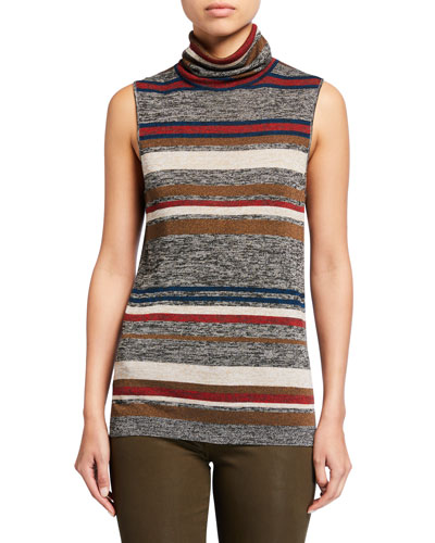 Esther Striped Sleeveless Turtleneck Sweater