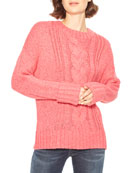 Parker Yarna Cable-Knit Crewneck Sweater