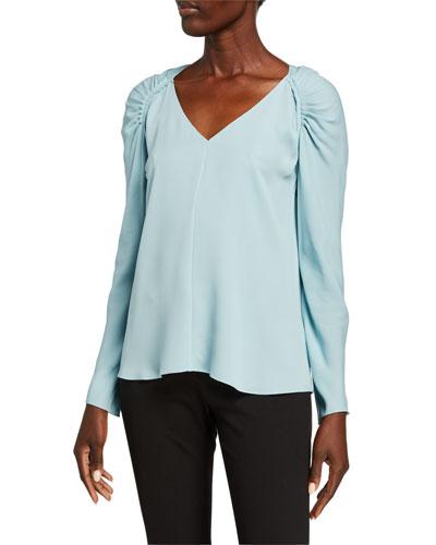 Shirred Shoulder V-Neck Long-Sleeve Silk Top