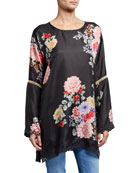 Johnny Was Plus Size Linden Floral Long-Sleeve Silk