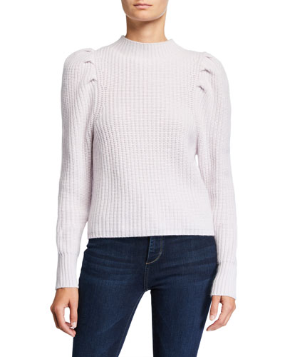 Puff-Sleeve Mock-Neck Cashmere Sweater